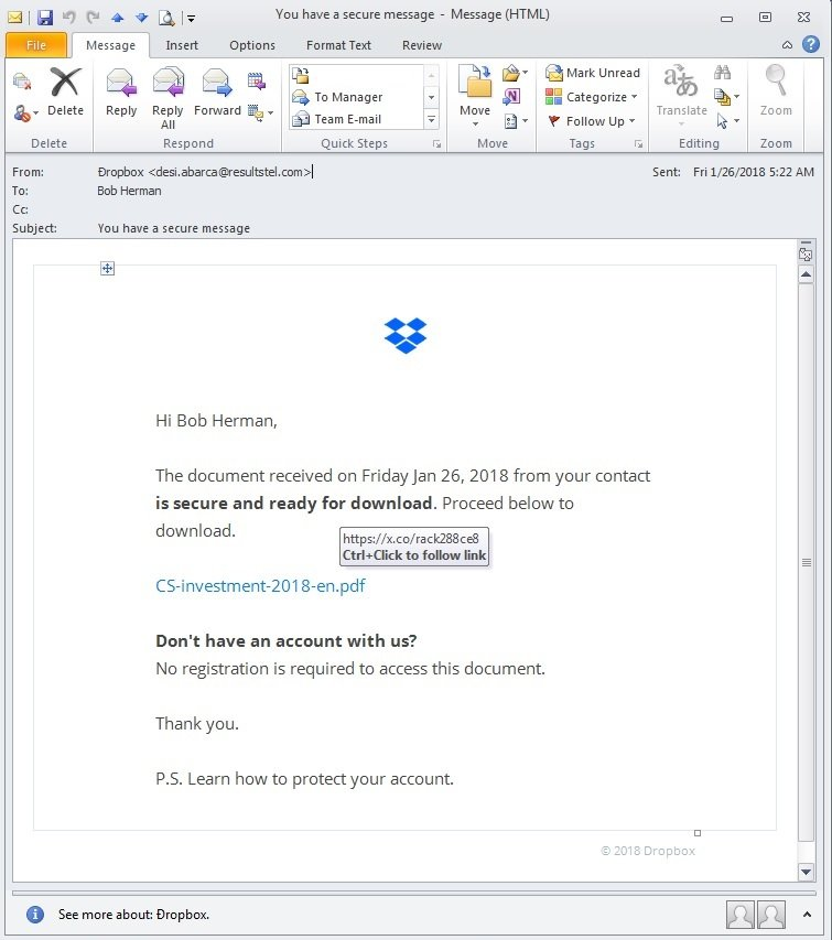 Image of Dropbox fake email