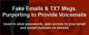 image: Uptick in Phishing Emails and TXT Messages Purporting to Provide Voicemails